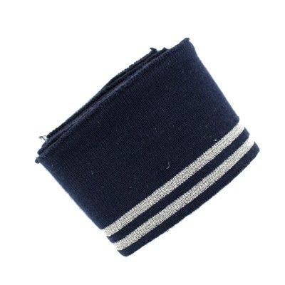 Cuff fabric - Lurex Navy Silver  150x7 cm