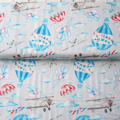 Designer print fabric - Airplanes Grey