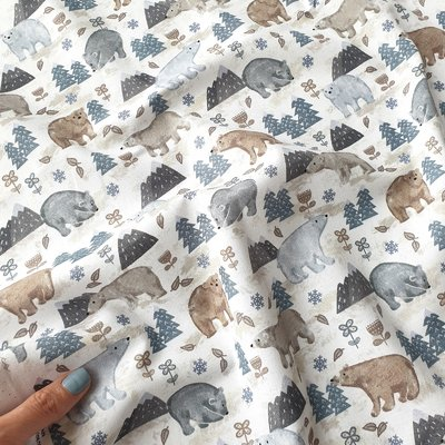 Digital print cotton -  Forest Bear