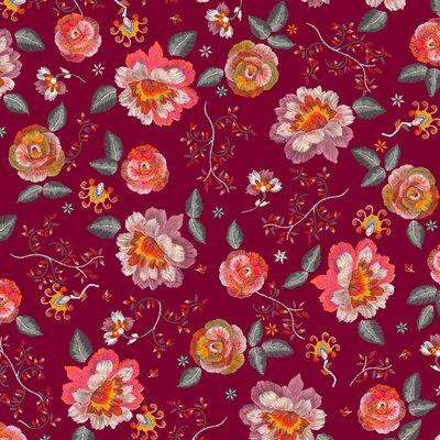 Digital print cotton -  Irene Burgundy