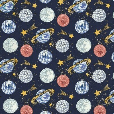 Digital Printed Cotton - Mars Navy