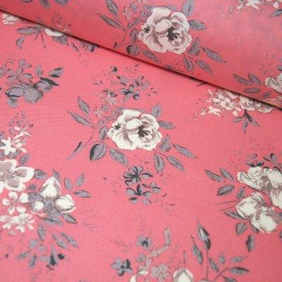 Poplin British Floral - Pink