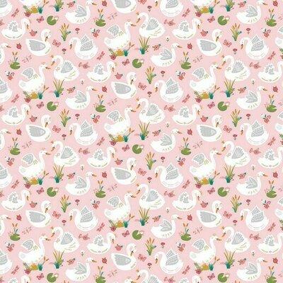 Printed Cotton - Beautiful Swans Rose