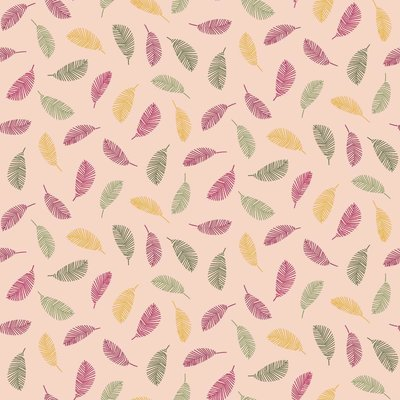 Printed Cotton - Colorful Leaves Salmon