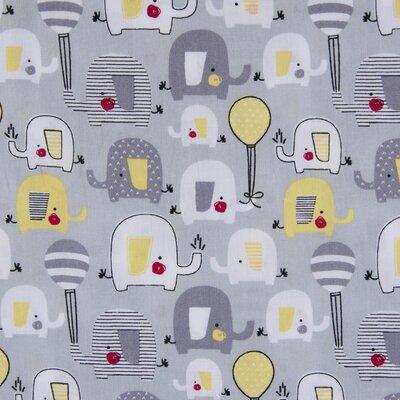 Printed Cotton - Elephants Grey
