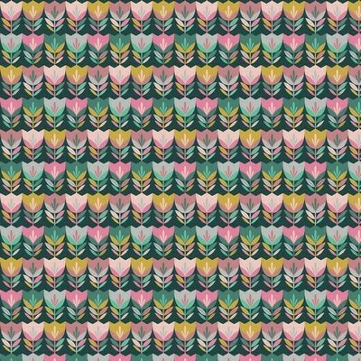 Printed Cotton - Happy Tulips Dark Green