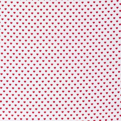 Printed cotton - Hearts White Red