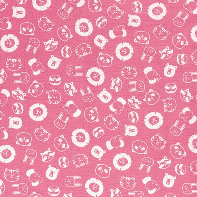 Printed Double Gauze - Animals Dark Pink