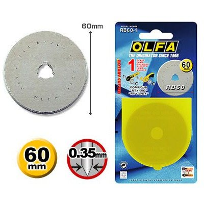 Spare blades 60 mm Olfa cutter RB-60-1