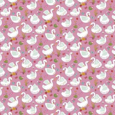 Bumbac imprimat - Beautiful Swans Mauve