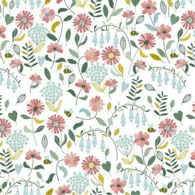 Bumbac imprimat Brushed - Flower White