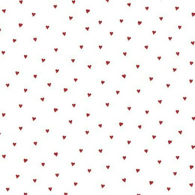 Bumbac imprimat Brushed - Heart White/Red