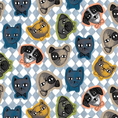 Bumbac imprimat - Cats and Dogs Blue