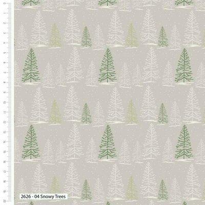 Bumbac Imprimat - Christmas Snowy Tree