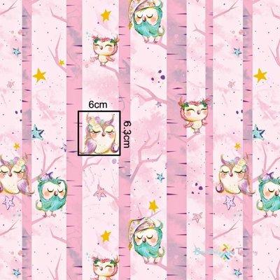 Bumbac imprimat cu auriu - Sleepy Owls Pink