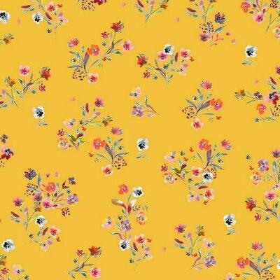 Bumbac imprimat digital - Flowers Yellow