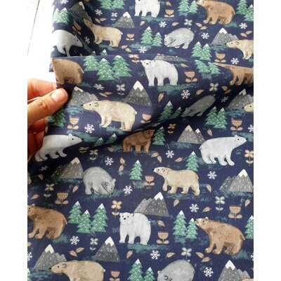 Bumbac imprimat digital -  Forest Bear Blue