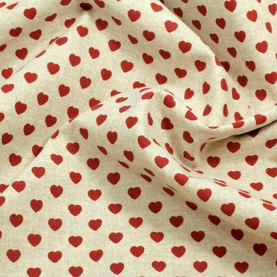 Bumbac imprimat digital - Red Hearts Natur