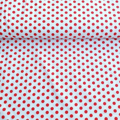 Bumbac Imprimat - Dots Red on White