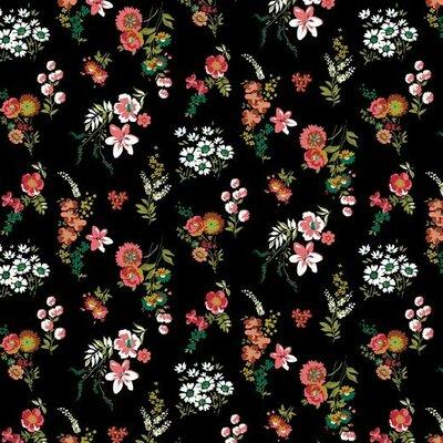Bumbac imprimat - Flowery Black