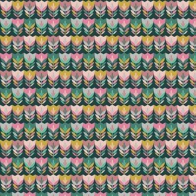 Bumbac imprimat - Happy Tulips Dark Green
