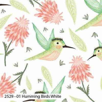 Bumbac Imprimat - Hummingbirds White