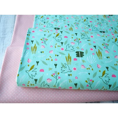 Bumbac imprimat - Little Birds Mint