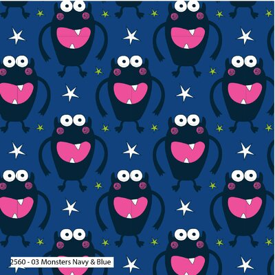 Bumbac Imprimat - Monsters Navy & Blue