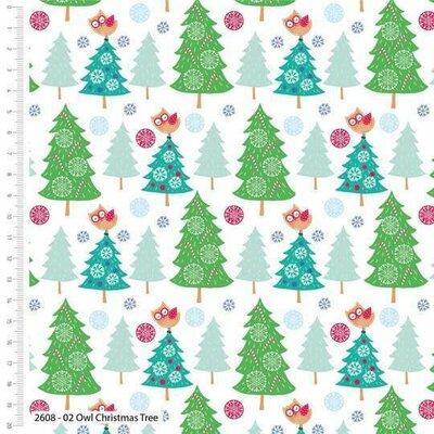 Bumbac Imprimat - Owl Christmas Tree