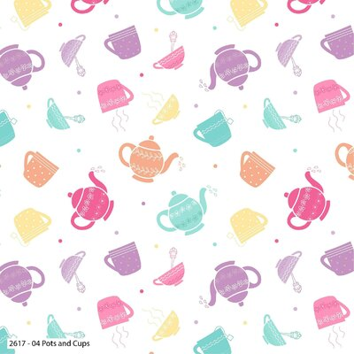 Bumbac Imprimat - Tea Party Pots & Cups