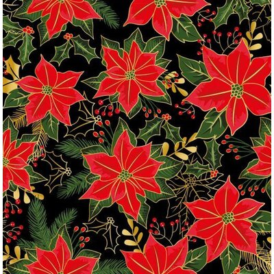 Bumbac Imprimat - Traditional Poinsettia Black