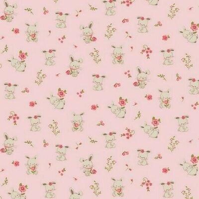 Bumbac organic imprimat - Bunny Rose