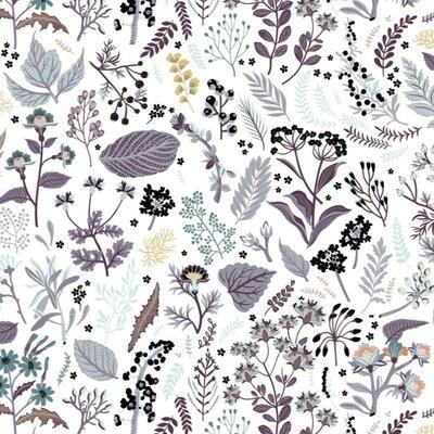 Bumbac Organic imprimat - Herb Garden Lilac