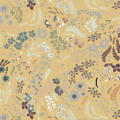 Bumbac Organic imprimat - Mix Flowers Ochre