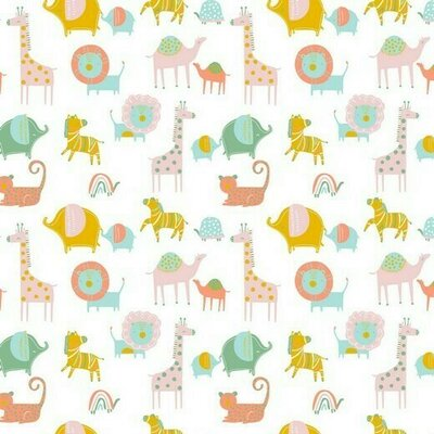 Bumbac organic imprimat - Safari White