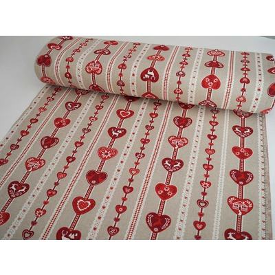 Canvas Fabric - Alps Hearts Red