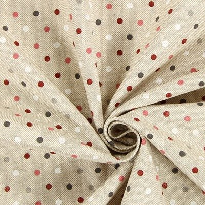 Canvas Fabric - Dots Natural Pink