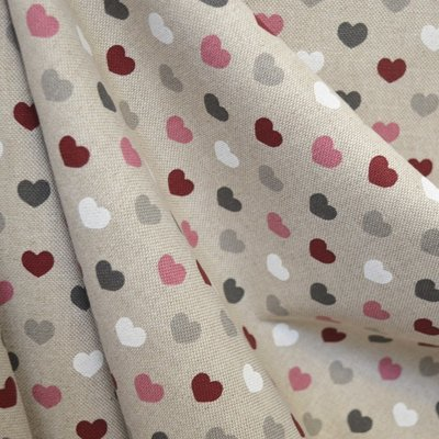 Canvas Hearts Natural Pink - Lat 2.80m