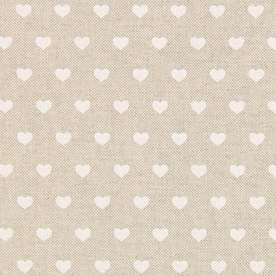 Canvas Linen Look Fabric - Hearts White