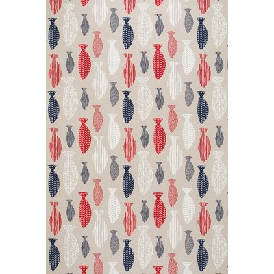Canvas Linen Look Fabric - Piscis Red and Blue