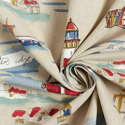 Canvas Linen Look Fabric - Sea Shore Coast