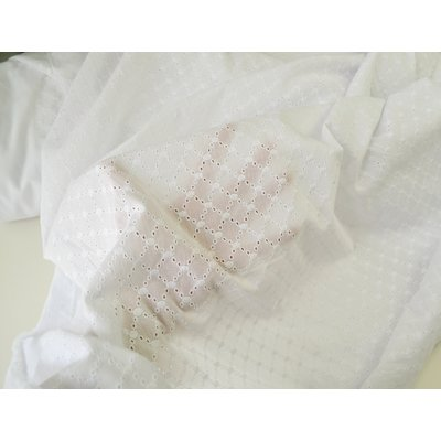 Cotton Embroidery Lattice Ivory