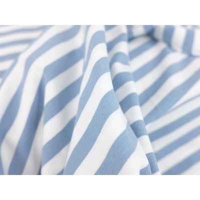 Cotton Jersey - Yarn Died Stripes Blue