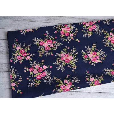 Cotton Poplin Rose Bunch Navy