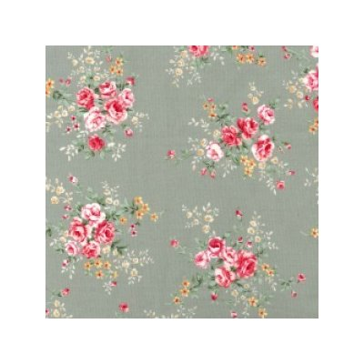 Cotton Poplin - Rose Bunch Silver