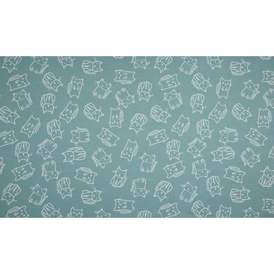 Cotton Printed Jersey - Cats Dusty Blue