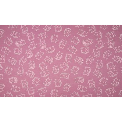 Cotton Printed Jersey - Cats Old Rose