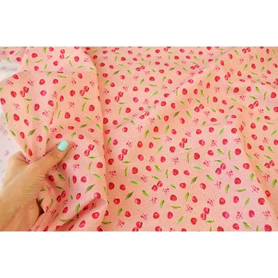 Digital Print Fabric - Cherries Pink