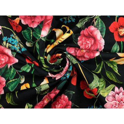 Digital Print Jersey - Flowers black