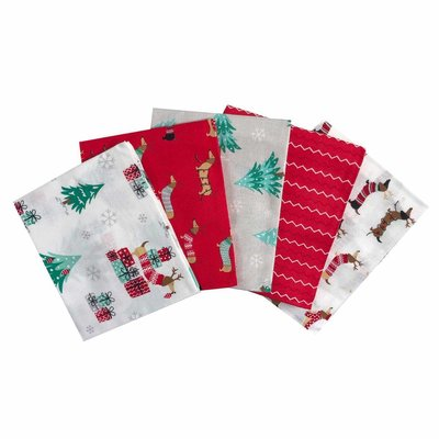 Fat Quarter Set - Weiner Dog Christmas